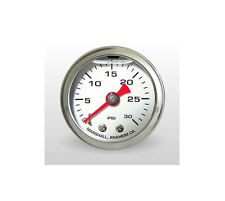 "Marshall Gauge 0-30 Psi Fuel / Oil Pressure White 1.5"" Diameter (Liquid Filled)"