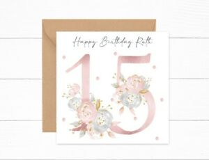Personalised Birthday Card 15th Birthday Girls Floral Daughter Granddaughter