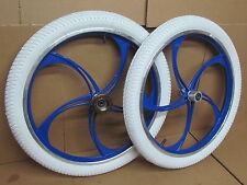 """20"""" BMX Bike Bicycle Alloy Mag Wheel Set + White Tyres + Inner Tubes + Freewheel"""