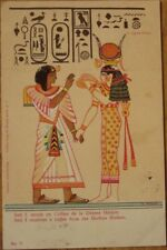 1905 Egyptian Hieroglyphs Postcard: Color Litho - Seti I & Hathor - Egypt