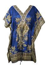 Womens Caftan Dress Loose Beach BLUE Printed Dresses Summer Cruise Caftan 3XL