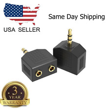 1 Male to 2 Female Gold Plated 3.5mm Y Audio Splitter Headphone Adapter Black