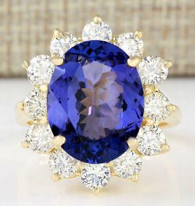 10.57 Carat Natural Tanzanite 14K Yellow Gold Diamond Ring