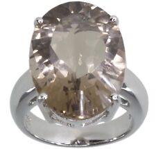 Smoky Quartz Oval Gemstone Sterling Silver Ring size N