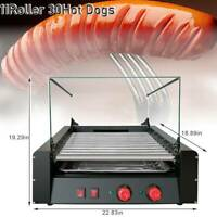 30 Hot Dogs Machine Commercial Electric 11 Roller Grill Cooker &Cover 1650W US