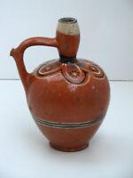 Old Antique Primitive REDWARE Jug Pitcher Vessel Pottery Pot Jar Glazed 19th