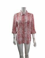 Chicos Women's Size M (1) Long Roll Tab Sleeve Button Down Shirt