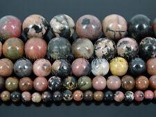 Natural Black Line Rhodonite Gemstone Round Beads 15.5'' 4mm 6mm 8mm 10mm 12mm