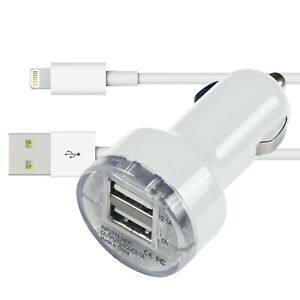 Car Charger USB Lighter Socket Dual Adapter & Charging Cable For iPhone
