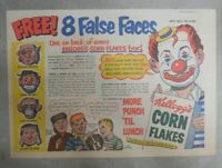 Kellogg's Cereal Ad: False Faces Masks Premium ! From 1951 Size: 7 x 10 inches