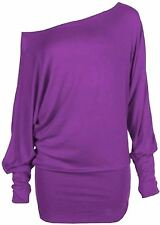 New Womens Batwing Sleeve Off Shoulder Plus size Tops 8-34