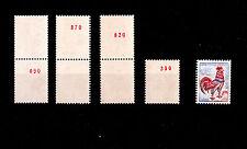 FRANCE ** n°1331b  n° ROUGE au verso / 4 exemplaires / MNH / COQ DECARIS / TTBE