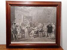 Gravure ancienne XIX Francois Premier roi France peinture Lemonnier gravé Jazet