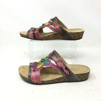 L'artiste Spring Step Thrill Wedge Sandals Flower Cork Leather Brown Womens 38