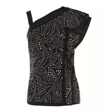Karen Millen Studded Jaquard Off Shoulder Top New 10 Rrp£199