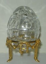 Faberge Clear Crystal Egg, Signed & Numbered 0052, on Gold Tone Stand