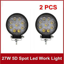 "5D OPTICAL 2X 27W 4""In Round LED SPOT Work Driving Light Fog Jeep Forklift 4x4"