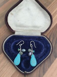 Sterling Silver Earrings Freshwater Pearl Turquoise Dangle Drop