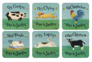 Pimpernel Dans Le Jardin Coasters Set of 6 Animals Fun Table Mats Place Settings