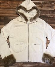 NWOT KENJI Naturals Rabbit Fur Trim Women's XL Cotton Hoodie Sweater Cardigan