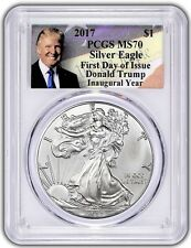 2017 $1 Silver Eagle Pcgs Ms70 First Day of Issue Donald Trump Inaugural Year
