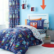 Catherine Lansfield Robots Blue Childrens Kids Eyelet 66x72 Ready Made  Curtains