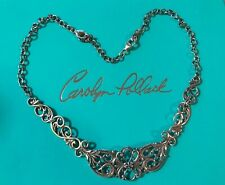 "Carolyn Pollack 18"" Sterling Silver Collar Scroll Necklace 3"" Extender In Box"