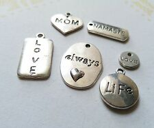 6 Assorted Word Charms Antique Silver Tone Inspirational Pendants