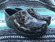 Dansko Leopard Faux Wood Clog Sz 37 US 6 - 6.5 Brown Black