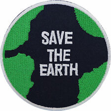Embroidered Patch Save The Earth Iron On Sew On Embroidery Badge Green Peace WWF