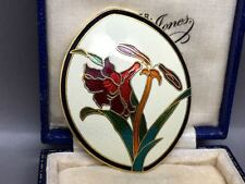 Lovely Vintage Oval White Enamel with Red Flowers Brooch