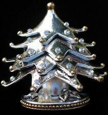 SIGNED BEST SILVER GOLD LAYERED CHRISTMAS TREE PIN BROOCH PENDANT JEWELRY 2.25""
