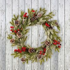 Christmas Wreath Red Fruit Decor Hanging Wreath Christmas White Frosted 2020 NEW