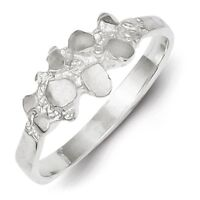 Ladies 925 Sterling Silver Polished & Diamond-cut Nugget Ring Size 6 - 8