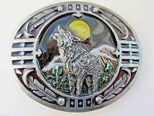 Wolf Belt Buckle Howling Wolf und Mond.