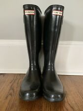 Womens sz 8 Hunter Original Tall rain boots Black high gloss