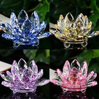 Lotus Crystal Glass Figure Paperweight Ornament Feng Shui Decor Collection 2019