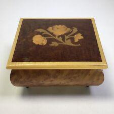 Mapsa Swiss Movement Wood Music Box Inlaid Floral Detail Plays Weggiserlied