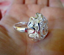 Silver Flower Rose Ring-Womens size 7 3/4