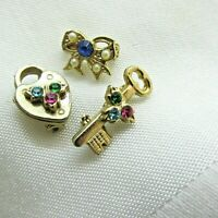 Vintage Scatter Pins Lock and Key and Bow 1950's 60's Small Gold Tone