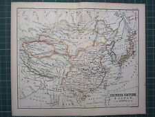 1887 ANTIQUE MAP ~ CHINESE EMPIRE & JAPAN TIBET TURKISTAN MONGOLIA MANCHURIA
