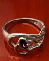 Vintage sterling silver 925 ring size L Amethyst Coloured Stone