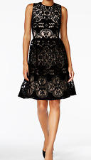 NWT Tommy Hilfiger Velvet Lace Fit & Flare Dress in Black Size 8