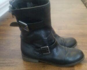 STEVE MADDEN Temmpt black leather ankle mid calf moto biker boots sz 8m zip back