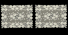 """Set of 2 Heritage Lace Ecru TEA ROSE Placemats 14""""x20"""" - Made in USA!"""