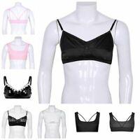 Sissy Men Lingerie Satin Lace Bralette Wire-Free Crossdress Sports Bra Crop Tops