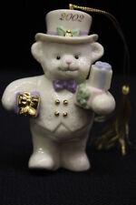 "Mint Annual 2002 Lenox Teddy'S Holiday Delivery Christmas Bear 4"" Ornament w/CoA"