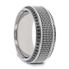 Gauntlet Polished Steel Chain Titanium Wedding Ring with Black Diamonds - 10mm