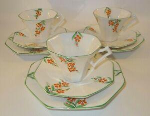 3 Art Deco Mayer & Sheratt Melba China Trios Cups Saucers Side Plates c1930