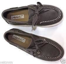 SPERRY Top-Sider Halyard Lace Boat Shoe. Little Kid Size(1.5M), Brown Leather